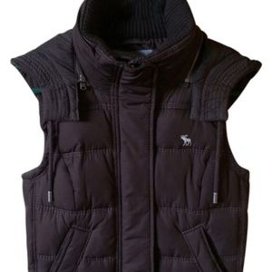 A&F Navy Blue Quilted Puffy Vest with Hood Medium